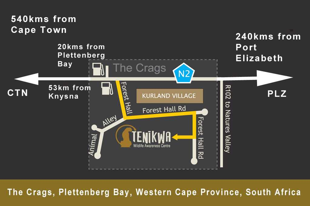 Map to Tenikwa in relation to Cape Town and Port Elizabeth